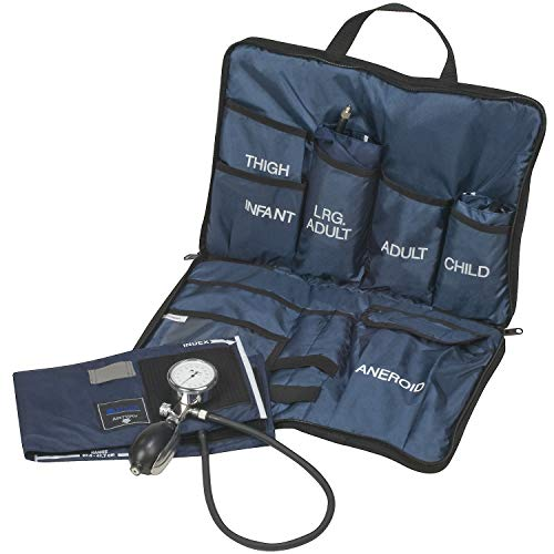 MABIS Medic-Kit3 EMT and Paramedic First Aid Kit with 3 Calibrated Nylon Blood Pressure Cuffs, Sizes Included: Large Adult, Adult and Child, Blue