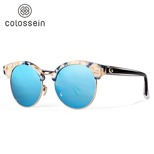 0073c22c68 Amazon.com  Colossein Hand Made Acetate Frame Mirror Polarized Fashion  Sunglasses For Women  Clothing