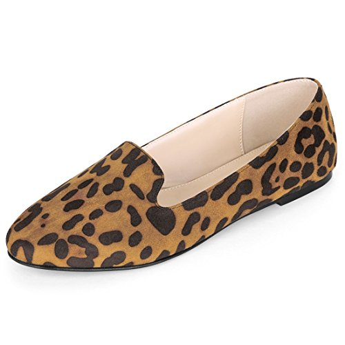 Allegra K Women's Leopard Slip On Round Toe Flat Shoes Brown Loafers - 7.5 M US (Suede Print Flats)