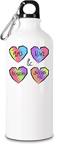 Peace Love Rainbows And Poo Premium Quality Reusable Aluminum Sports Bottle| 600ml|For Active Lifestyles & Sports Activities| The Durable, Eco-Friendly & BPA-Free Alternative To Plastic Bottles