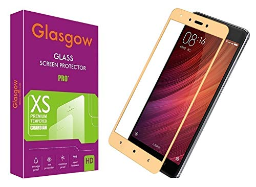 Glasgow 9H+ High Definition [HD] Tempered Glass for Mi Redmi Note 4 Screen Protection Premium Product [Curved Edges] [Gorilla]   Gold