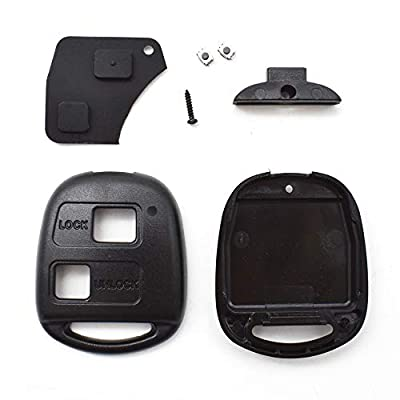 XUKEY Car Remote Key Cover Shell for Toyota RAV4 Yaris Prado Corolla Land Cruiser Previa Echo Tarago Alphard 2 Rubber Button Pad Switches: Automotive