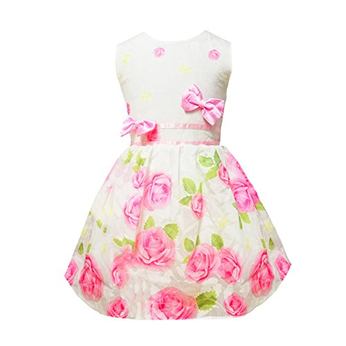 Little Hand Girls Dress For Kids,Flower Floral Lace Sleeveless Party Wedding Sundress Pageant Pink Rose 2 3 4 5 6 7 T Pink Flowered Sleeveless Dress