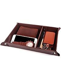 Valet Tray Jewelry Organizer,PU Leather Watch Box Coin Change Key Tray for Storage Coffee