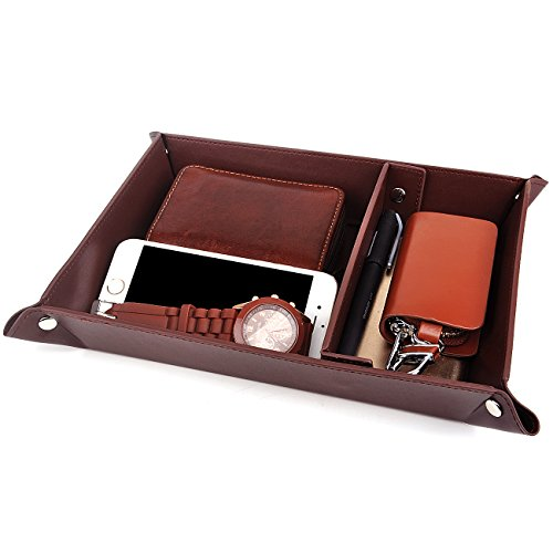SPSHENG Valet Tray Jewelry Organizer,PU Leather Watch Box Coin Change Key Tray for Storage Coffee by SPSHENG