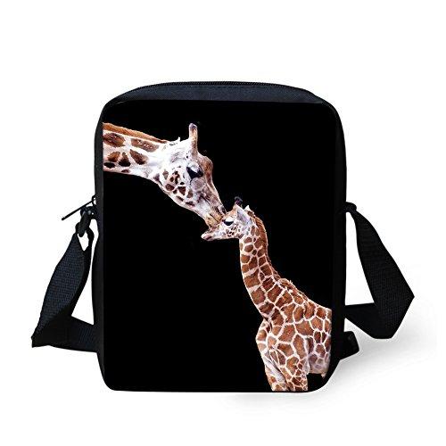HUGS IDEA Giraffe Print Small Messenger Bag Handbag Adjustable Strap Crossbody Bag Cell Phone Purse