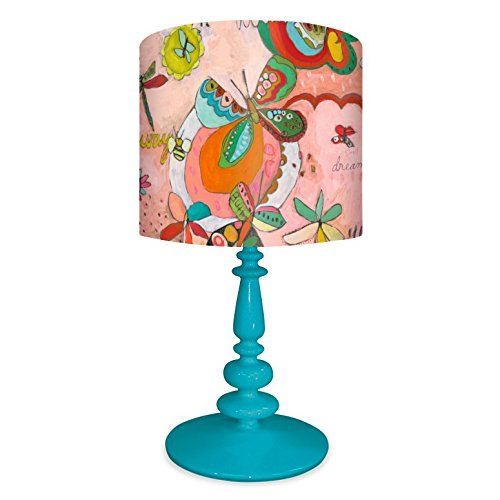 Oopsy Daisy NB14937 Lamp Oh Sweet Butterflies Canvas Shade with Turquoise Resin Base