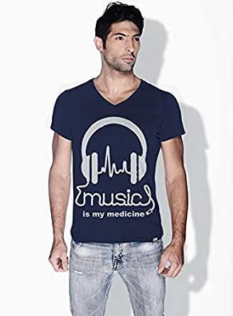 Creo Music Is My Medicine Trendy T-Shirts For Men - S, Blue