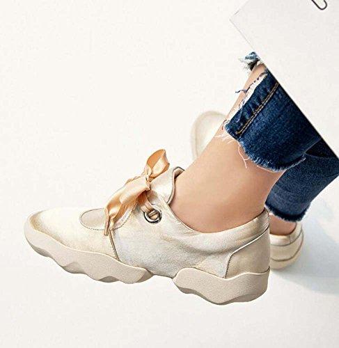 40 Tamaño Snakers Estudiante Redondo Deportivos Paño Otoño Perezoso 2017 De Satén Bowknot Bomba De Color 34 Champagne Nuevo Pajarita De Zapatos Eu Zapatillas Flat Toe Mujer Zapatos Color Los Puro URpRn4