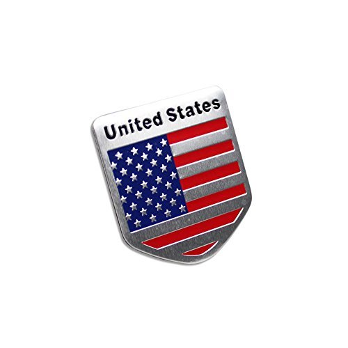 Generic Car Racing Sports US USA American Flag Shield Emblem Badge Decal Sticker (Emblem Badge Flag)