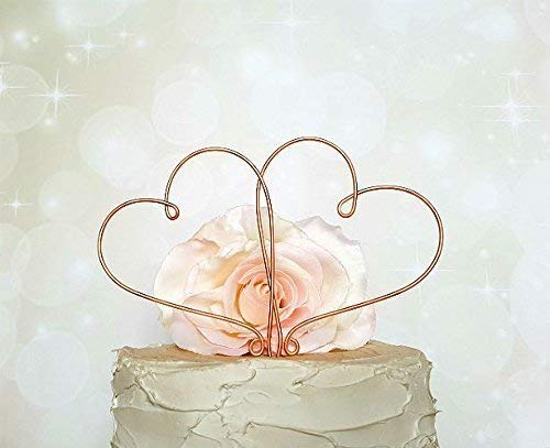 HEARTS Wedding Cake Topper in COPPER Finish Special Events Decoration ()