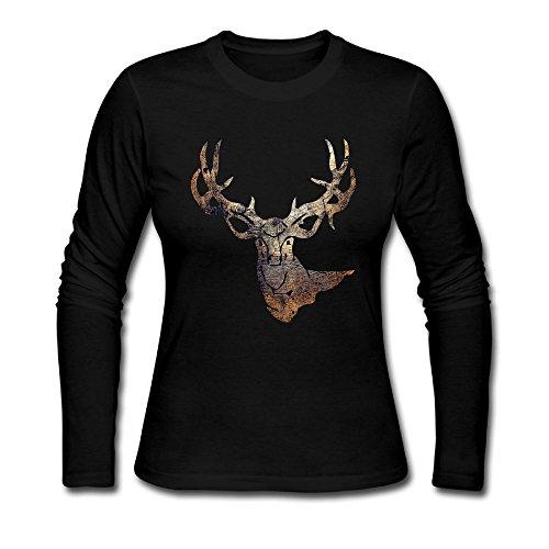 Deer Hunting - Deer Head Camoflauge Deer Ladies' Long Sleeve Athletic Cotton Round Neck T-Shirt (Round Neck Deer)