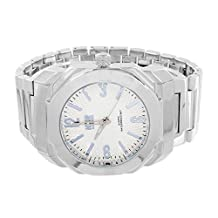 Mens Octagon Face Watch Ice Master Silver Tone White Dial Analog Steel Back Case