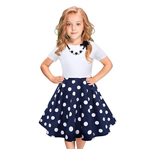 Orfilaly Girls Vintage Dress Toddler Polka Dot Ruffled Pleated Skirt Summer Casual Beach Sundress Party Princess Dresses Blue