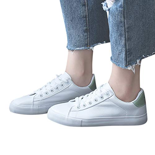 Vowes Fashion Lady Solid Color Appliques Breathable Round Toe Shoes Leather Lace Up Small White Shoes Skandent Casual Flat Sneakers (Leather Clogs Ariat)