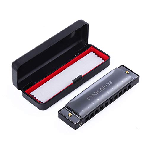 Harmonica, Coolbros Standard key of C 10 Hole 20 Tone Diatonic Harmonica with Case fo Beginner,Students, Kids Gift, suitable with Harp Blues Rock Country Folk Jazz, Titanium Black