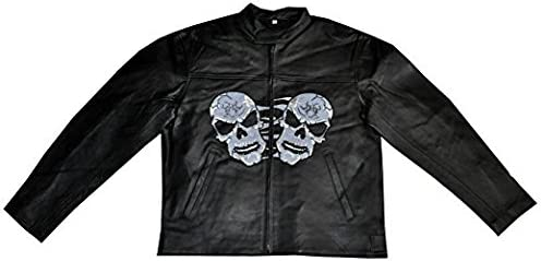 LnL Mens Leather Motorcycle Skulls Jacket with Direct Embroidery