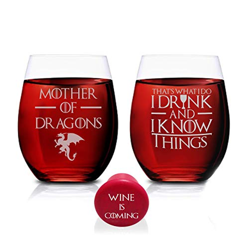 Game Of Thrones Wine Glasses - Mother of Dragons & Thats What I Do I Drink And I Know Things - Set of 2 - Stemless Glass 15 OZ
