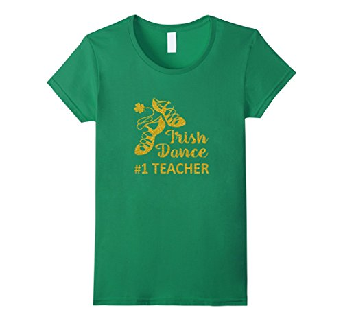 Womens Irish Dance Teacher T Shirt Ghillies Gold Small Ke...
