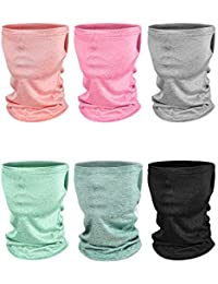 6 Pieces Kids Summer Neck Gaiters Dust Sun Protection Face Covers Non-Slip Ice Silk Balaclava Face Scarf (Orange, Green, Dark Green, Rose Red, Grey, Black)