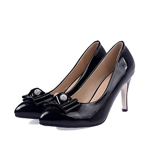 AllhqFashion Damen Spitz Zehe Ziehen auf PU Leder Eingelegt Hoher Absatz Pumps Schuhe Schwarz