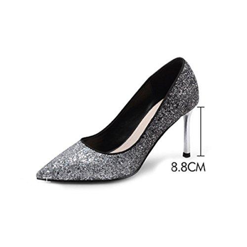 Blue 8 De Femmes 8cm Printemps Haute Paillettes Mesdames Mariage Chaussures Chaussures Chaussures Talons Pointu Demoiselle De Talons Chaussures Stiletto D'honneur wTq1FwUg