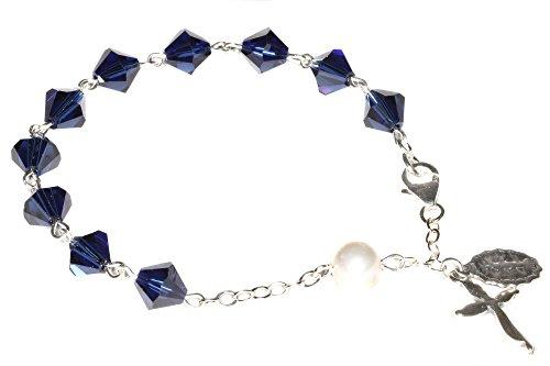 Womens Rosary Bracelet made with Dark Indigo Blue Swarovski Crystal element