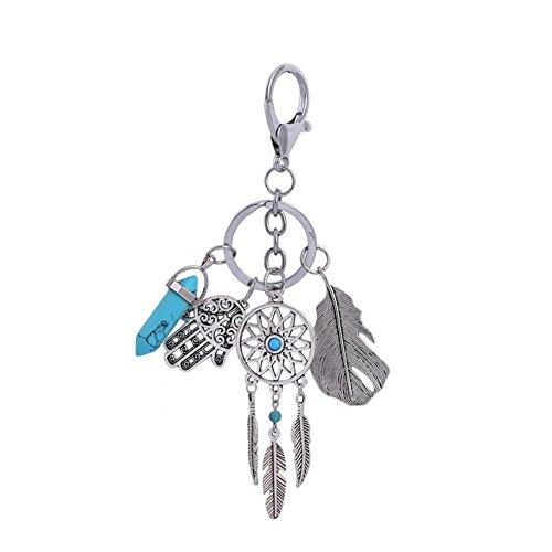 CHUANGLI Boho Keyring Turquoise Feather Leaf Keychain Pendant Keyring for Women Decor Jewelry (Deep (Deep Blue Turquoise Pendant)