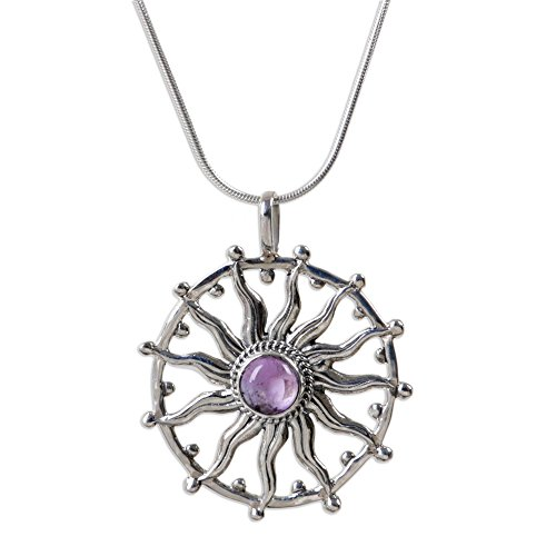 "NOVICA .925 Sterling Silver and Amethyst Sun Hand Made Pendant Necklace, 17.25"", Sun Spirit"