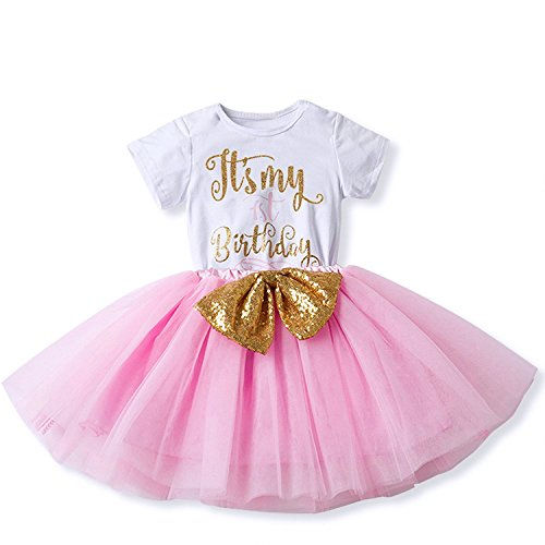 Girl Newborn It's My 1st/2nd Birthday Shinny Printed Tutu Princess Dress Onesie Outfit Set Pink (1 Years)