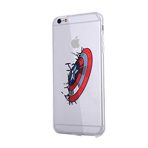 K.V Captain America Pattern iPhone 6s Case TPU Bumper Whit Dust - Plug Whit