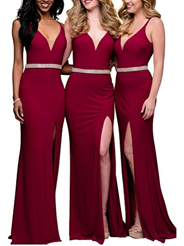 Satin High Split Long Bridesmaid Dress Beaded Wedding Evening Dress Strap Prom Dresses(Burgundye - Split Neck Beaded Dress
