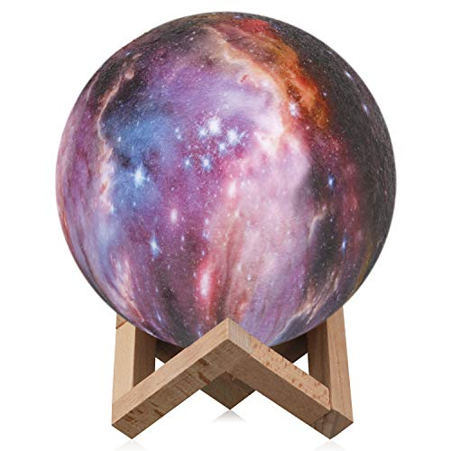 Space Night Light,Elstey 3 Colors 3D Printing Spherical Moon Lamp with Stand,5.9 inch Glowing Decor Moon Light for Baby Kids Lover Birthday Party Gifts -
