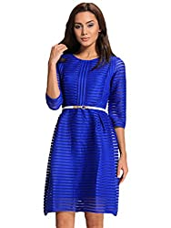 SheIn® Women's Blue/White Half Sleeve Hollow Striped Flare Dress
