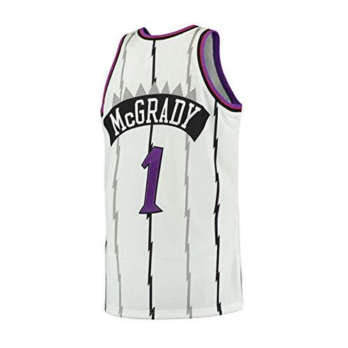 (Plkhey Mens McGrady Jersey #1 Tracy Toronto Basketball Adult Retro Sizes White (White,)