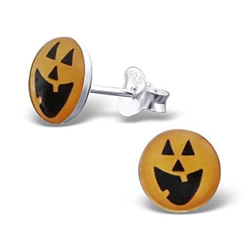 Halloween Pumpkin Posts Studs Earrings Sterling Silver 925 Round Shape Girls Sensitive Ears (E19727) -