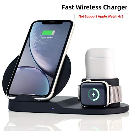 Wireless Charger Station,3 in 1 Charging Stand for Apple Watch, Dock for AirPods, Qi-Certified Wireless Charger for iPhone 11 Pro Max/11/xr/8/Xs/Samsung/All Qi Phones, with AC Adapter from ELE-Jiaruila