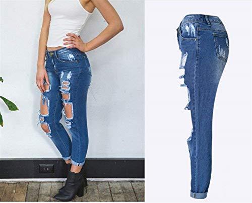 Agujeros Blau Con Mujeres Bolsillos Mezclilla Pantalones Delanteros Ajustados Mujer Agujero De Cintura Casuales Colores Vaqueros Sólidos Alta Wgn6Yxan