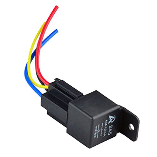 Asdomo 1Pcs 12V 12Volt 40A Auto Automotive Relay Socket 40 Amp 4 Pin Relay Wires