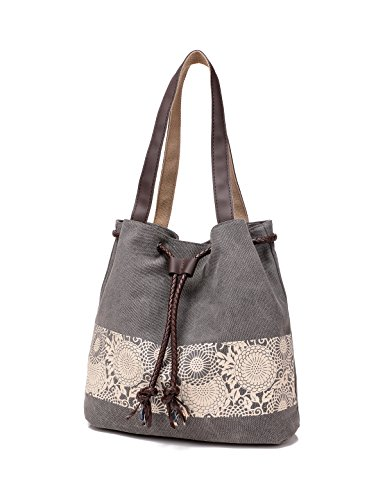 Women Printing Canvas Shoulder Bag Casual Hand Bags Purse with Leather Straps (gray) ()