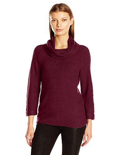 - Leo & Nicole Women's 3/4 Sleeve Cowl with Texture Pullover Sweater, Cabernt, Small