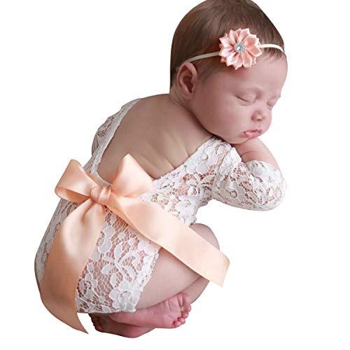 Hinzonek Pasgeboren Meisje Kanten Romper Fotografie Rekwisieten Kostuum Hoofdband Baby Fotoshoot Kleding Met Strik