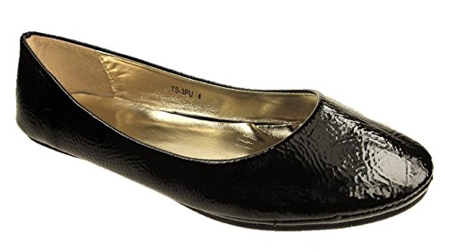 patent LADIES BALLERINA FASHION SHOES PUMPS FLAT COLOURS VARIOUS black DOLLY gqawzg
