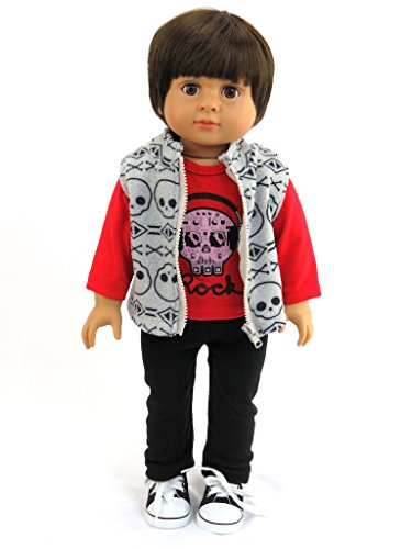 Mason the Little Rock Star: 18 inch Boy Doll includes Doll, Shirt, Vest, and Pants| Fits 18
