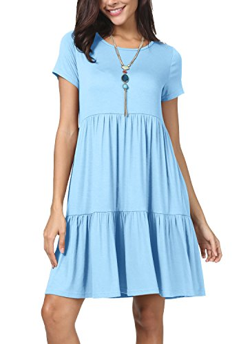 levaca Women Summer Plain Short Sleeve Loose Swing Casual Tunic Dress Sky Blue L