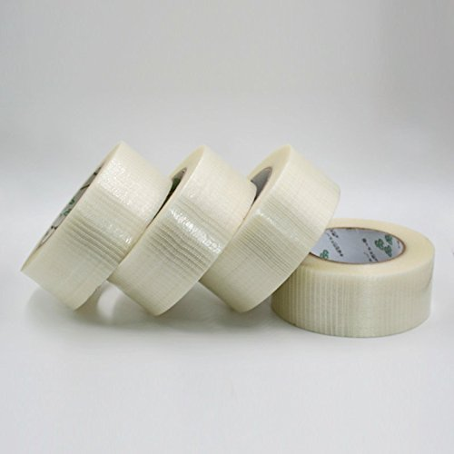 Heavy Duty Strapping Tape - 4pcs HobbyUnlimited Double Bond Bi-Directional Fiberglass Filament Reinforced Strapping Tape 50mm x 50m (2in x 55yds) 5.9 Mil 4-Piece Value Pack