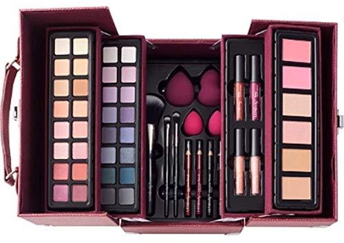 Ulta Beauty Glam and Glow 53 Piece Makeup Train Case Set Berry Plum Color