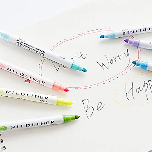 Highlighter Pens Double-Headed Multifunctional Pen 12 Colors Included Round and Oblique Head Marker Pens Fine Brush Marker Pen Graphic Drawing (Multicolor) by Ounice (Image #1)
