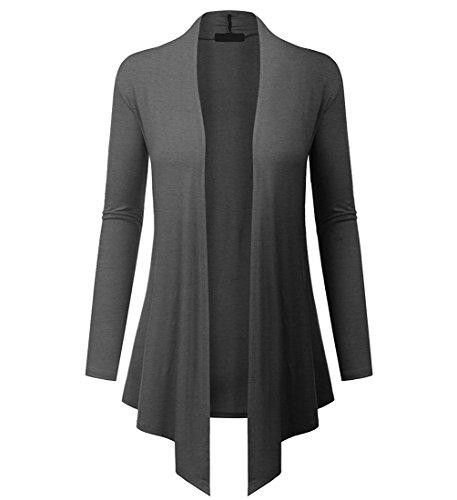 Dutebare Womens Long Sleeve Open Front Cardigan Drape Hem Lightweight Cardigans Dark Gray (Drape Front Short)