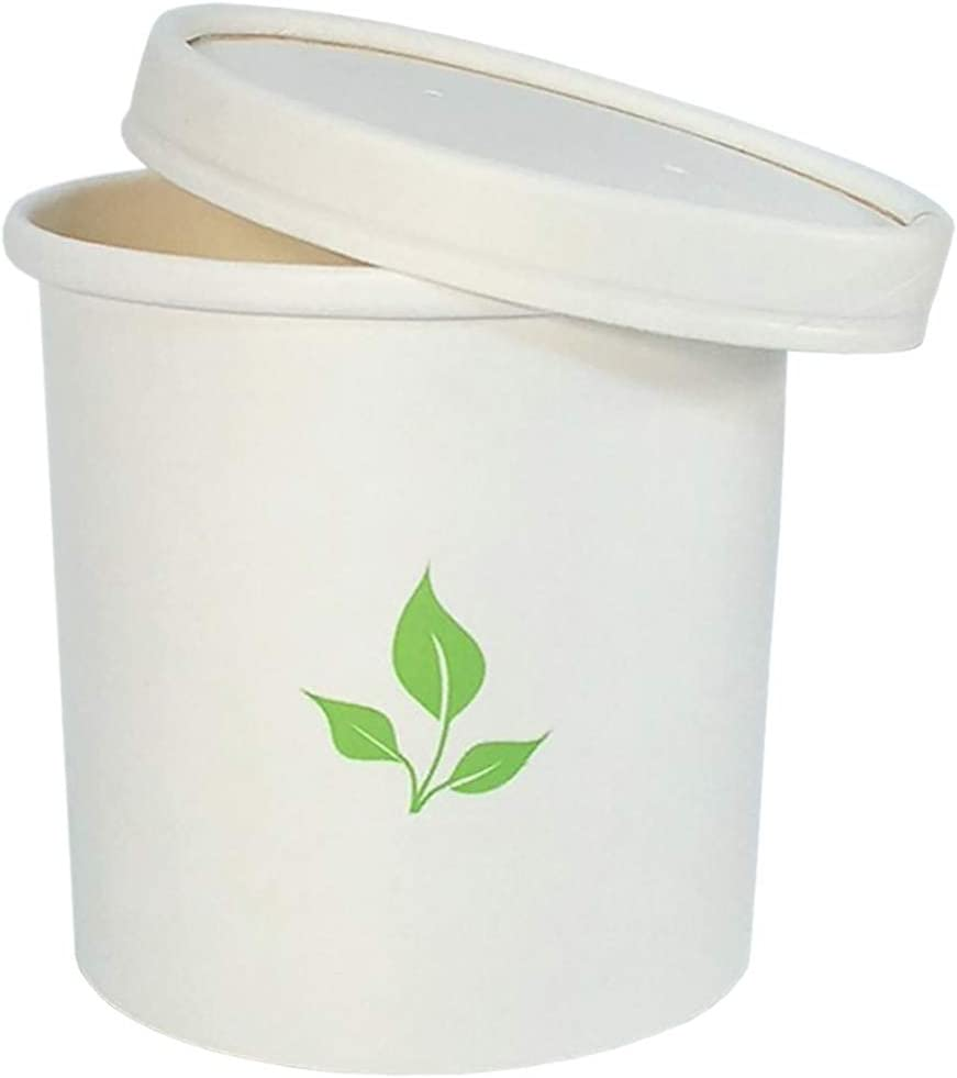Greenvali Disposable Soup Bowls with Lids [16oz-60 Pack] Pint Paper Containers for Hot or Cold Foods - TakeOut, ToGo, Meal Prep Cups for Ice Cream, Yogurt, Oatmeal, Chili - Storage and Serving